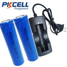 2x ICR 18650 3.7V 2200mAh Li-ion Rechargeable Battery Flat Top + Battery Charger