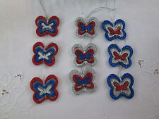 9 - Patriotic Red, Silver & Blue Glitter Spinner Butterfly Ornaments,4th of July