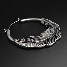 Feather Plug Hoops Earrings | Antique Silver | Ear Hangers | Sold As Pair