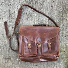 Vintage Brown Leather Lawyer Doctor Attache Briefcase Bag Satchel Messenger