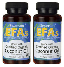 COCONUT OIL CERTIFIED ORGANIC 120 Sgels 1000mg ENERGY DIETARY SUPPLEMENT SWANSON