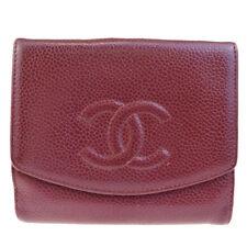 Authentic CHANEL CC Bifold Wallet Purse Caviar Leather Bordeaux Vintage 02EF195