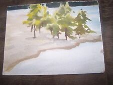 """Original Watercolor By Peg Humphreys, Tree Grove surrounded by Lake 12""""x9"""""""