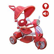 Triciclo Vespina per Bimbo Bambini con Cappottina e Maniglia Direzionabile Rosso