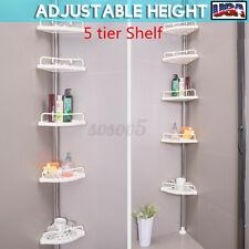 5 Shelf Shower Corner Tension Pole Caddy Organizer Bathroom Bath Storage