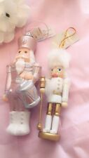 2 Christmas Tree Nutcracker Soldier hanging decorations NEW one pink & one white