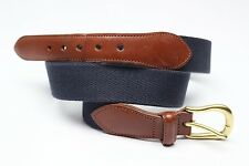 Coach Surcingle Belt Navy Blue Canvas Leather Tab 34 Brass Buckle 3880 Used