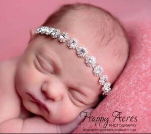 Girl Rhinestone Sparkly Newborn HairBand headband Baptism Wedding Christening