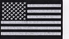 Large American Flag - Black & White - Iron or Sew On Patch