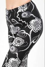 OS ONE SIZE BLACK WHITE FLORAL Leggings Size 2-10 BUTTERY SOFT NWT