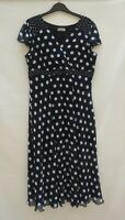 Marks & Spencer Per Una black/white fully lined fit & flare dress Size 16 L