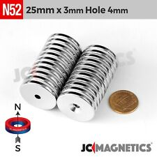 25mm X 3mm Hole 4mm Strong N52 Countersunk Ring Rare Earth Neodymium Magnet