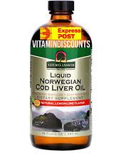 COD LIVER OIL Liquid Norwegian Natural Lemon-Lime Flavor, 16 fl oz (480 ml)