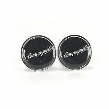 Vintage style Campagnolo script black handlebar end plugs - eroica bars