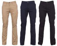 Mens Chino Pants Slim Fit Casual Straight Leg Plain Trousers New 30 32 34 36-40