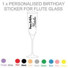 1 x PERSONALISED BIRTHDAY - VINYL STICKER - FLUTE GLASS