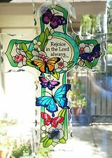 Joan Baker hand painted 10x7 Cross butterfly garden NIB suncatcher