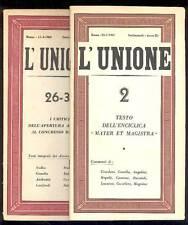L'UNIONE Settimanale diretto da Igino Giordani, 1961 n. 2 - 1962 n. 26/31