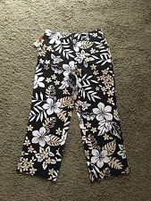Cherokee Stretch Capri Pants Floral Print Black NWT Size 8