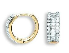 9CT HALLMARKED YELLOW GOLD CHANNEL SET BAGUETTE CUT & PAVE SET HUGGIE EARRINGS