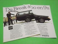 PUBLICITE - VOLVO 240 - DE BREAK A TURBO EN 9 S - VOITURE - 1984 ( N2 )