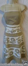 BCBG Max Azria 2 beige white silver sequin dress lots of detail