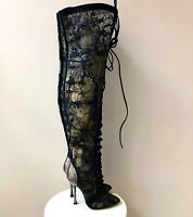 SERGIO ROSSI Overknee Stiefel Gr. D 36,5 Schwarz Spitze Damen Schuhe Shoes Lace