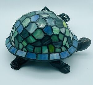 Tiffany Style Blue Stained Glass Turtle Table Lamp Night Light