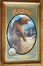 HAMM'S BEER WALL MIRROR SIGN BAR GRIZZLY BEAR ELK 1993 WOOD FRAME ADVERTISING
