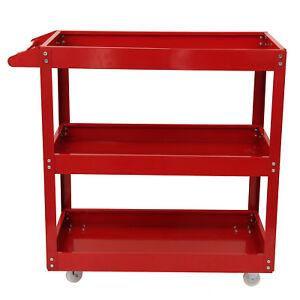 Tool Storage Heavy Duty Durable Garage Trolley Workshop 3 Tier Wheel Cart Shelf
