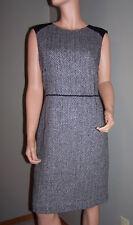 BANANA REPUBLIC Black White Herringbone Wool Tweed Sheath Career Dress Sz 14 EUC