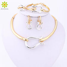 Bridal Jewelry Sets For Women Golden Silver Color Necklace Earrings Wedding Set