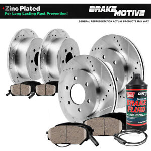For Dodge Sprinter Mercedes Benz Front+Rear Drill Slot Brake Rotors Ceramic Pads
