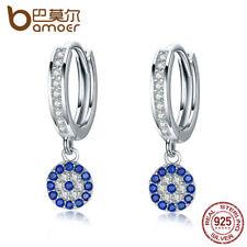 Bamoer 925 Sterling Silver Hanging earrings Blue Zircon happiness Women Jewelry
