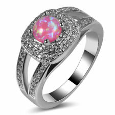 Art Deco Handcrafted Vintage Style Pink Fire Opal Silver Ring 10 Gift