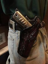 Fits: Colt 45 Commander Model 1911 4.25 Rail Ok Leather Holster Floral Scroll