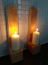 Wooden Sconces Candle Holder Wall Bottle  Holder Decorative x2 pair