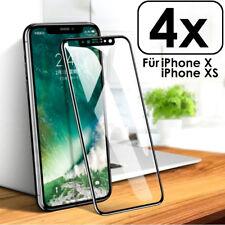 4x für iPhone X /Xs Panzer Glasfolie Curved Display Schutz Full Screen Echt Glas
