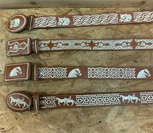 AUTHENTIC MEXICAN WESTERN cinto charro piteado Hand-braided Horse & Bull BELTS