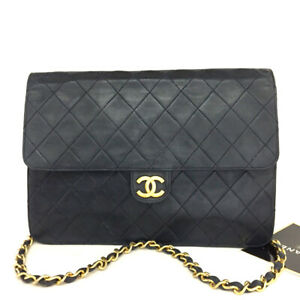 CHANEL Navy blue Quilted 25 CC Logo Push Lock Lambskin Chain Shoulder Bag/F1896