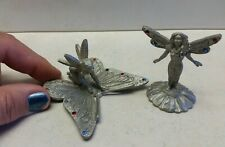Fairy figures (2) pewter emeralds collectibles