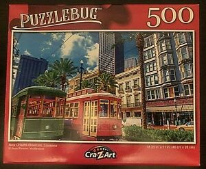 """Puzzlebug 500 Piece Puzzle - Streetcars New Orleans, Louisiana 18.25"""" X 11"""""""
