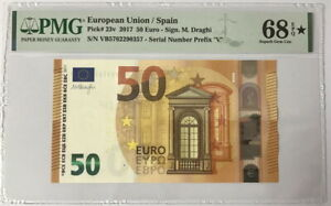 Euro 50 Euro Spain 2017 P 23 VB Prefix Superb Gem UNC PMG 68 EPQ Extra Star