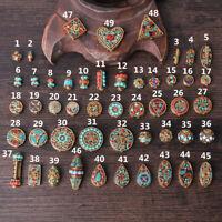 100% Handmade Nepalese Tibetan Turquoise Brass Loose Craft Beads Jewelry Making