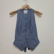 Norma Kamali Menswear Blue Cotton Racerback Vest Waistcoat