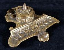 Vintage English Brass Inkwell Stand By Peerage 6.7x6.7x2.5 Needs Insert VFINE