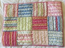 Pottery Barn Kids Pillow Sham Quilted Pink Pastels Patchwork Stripe Standard PBK