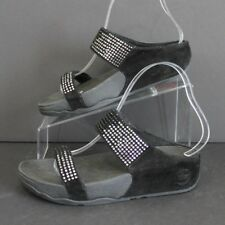 FitFlop Flare Black Crystal Embellished Suede Slide Sandals Womens Size 6 EUC