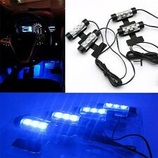 Blue 4x 3LED Car Charger Glow Interior Decorative Atmosphere Neon Light Lamps UK