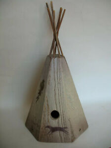 Teepee Birdhouse 7 Sided w Indian Designs Poles Rustic Wood Precision Hand Made